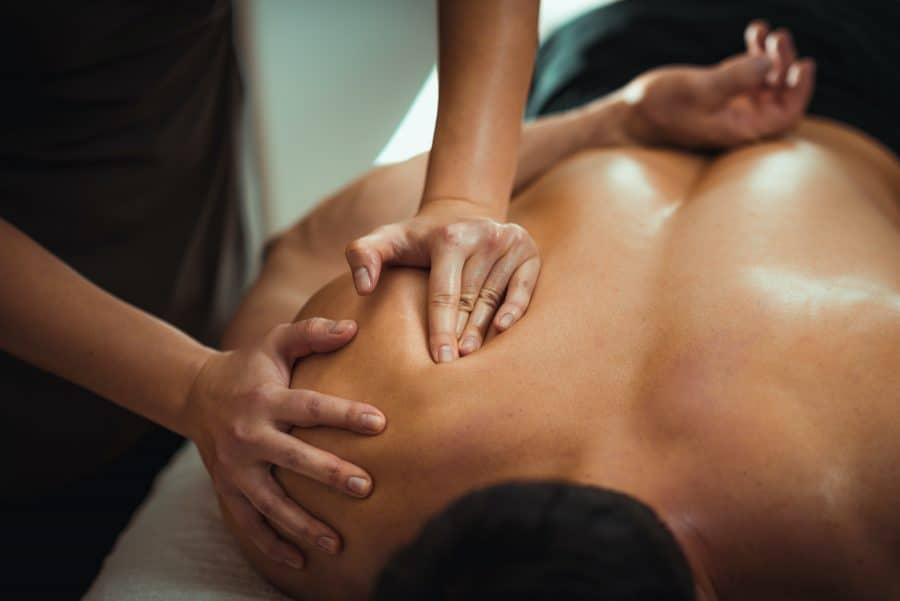 male patient receiving a professional massage